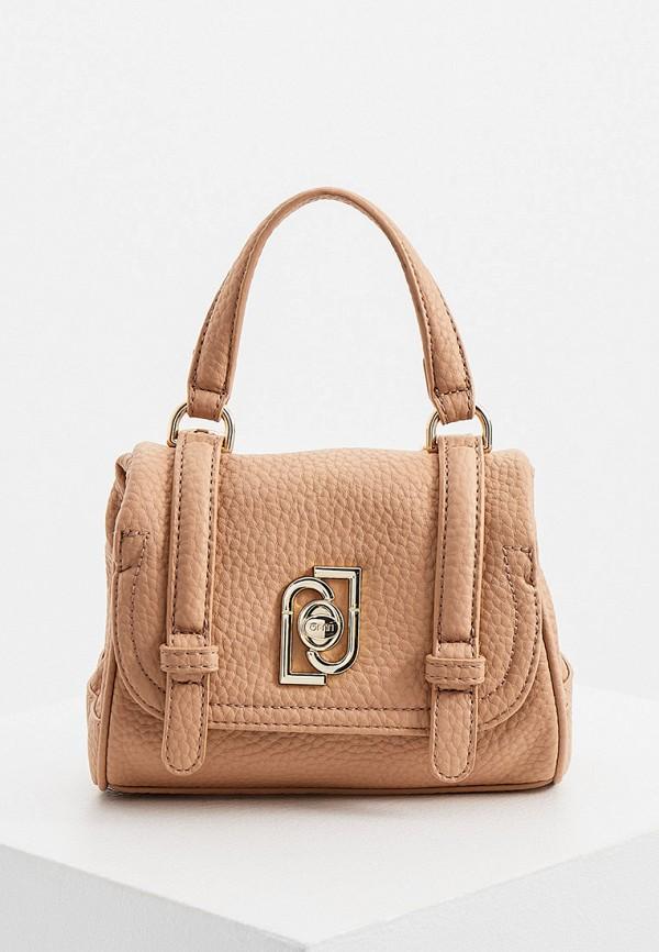 женская сумка с ручками liu jo, бежевая