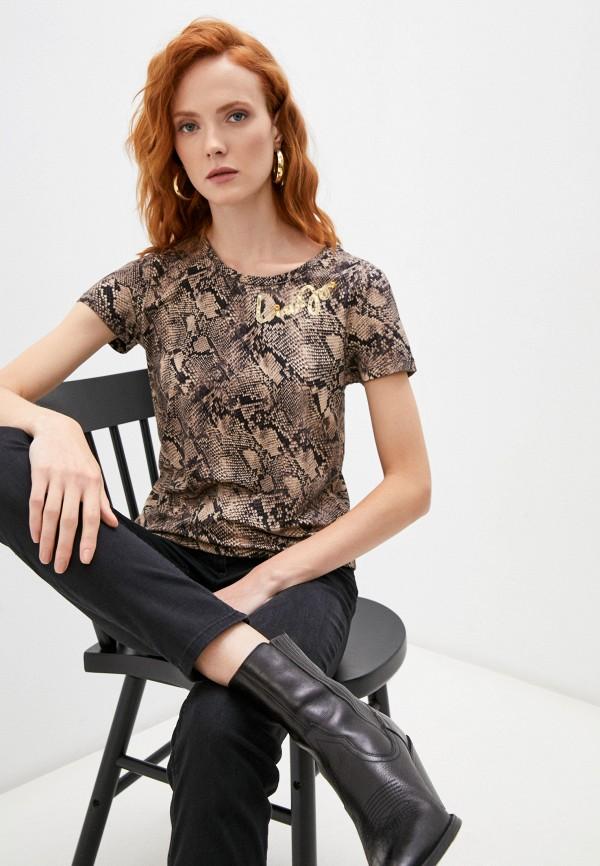 женская футболка liu jo, коричневая