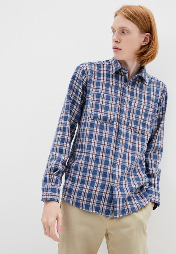 мужская рубашка с длинным рукавом trendyol, синяя