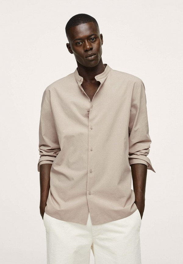 мужская рубашка с длинным рукавом mango man, бежевая
