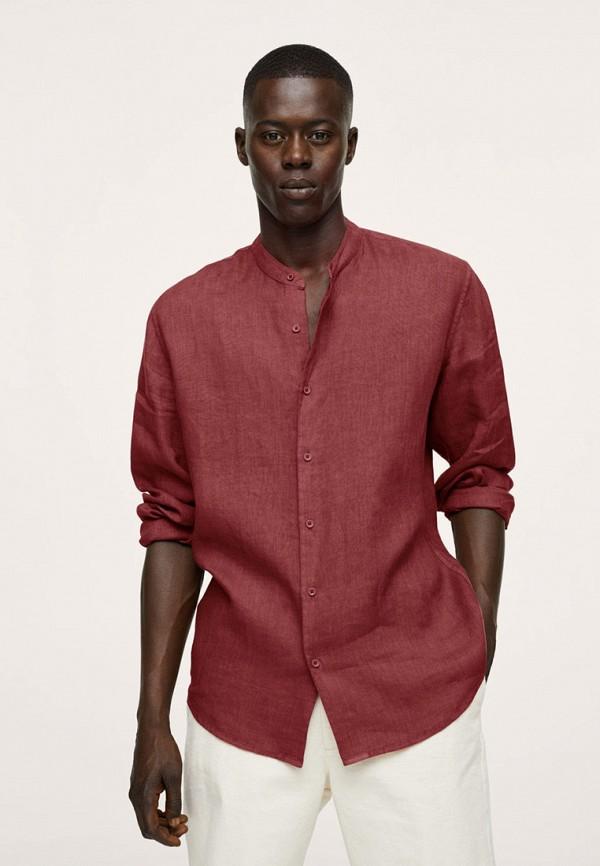 мужская рубашка с длинным рукавом mango man, бордовая