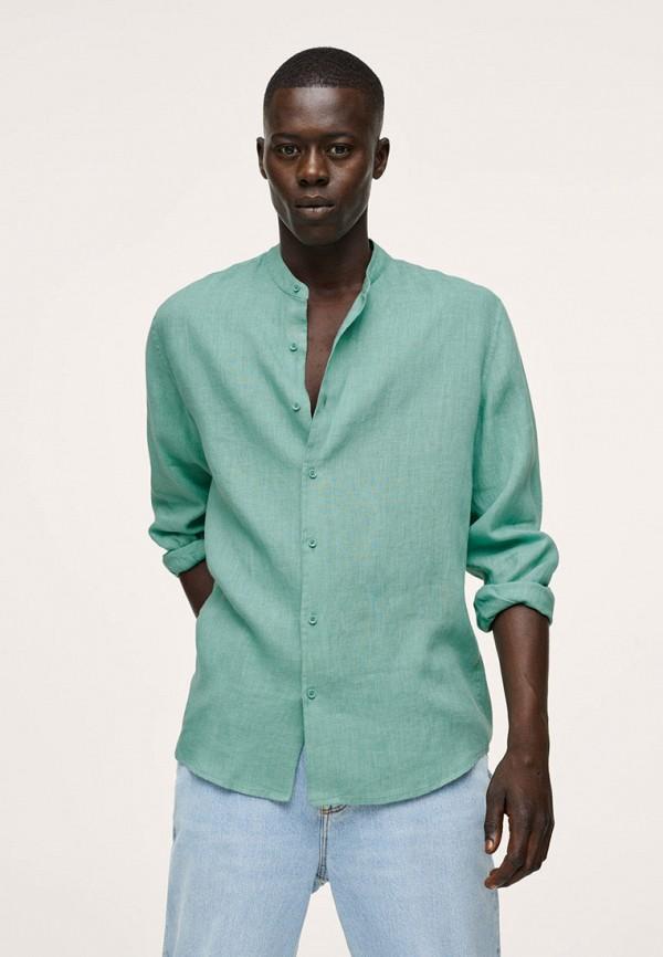 мужская рубашка с длинным рукавом mango man, бирюзовая