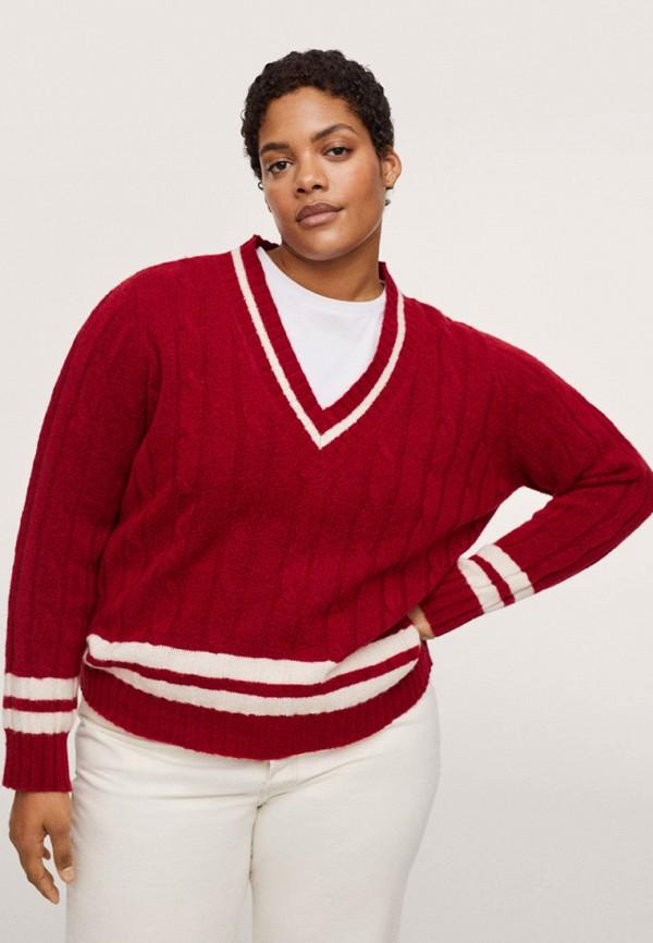 женский пуловер violeta by mango, красный