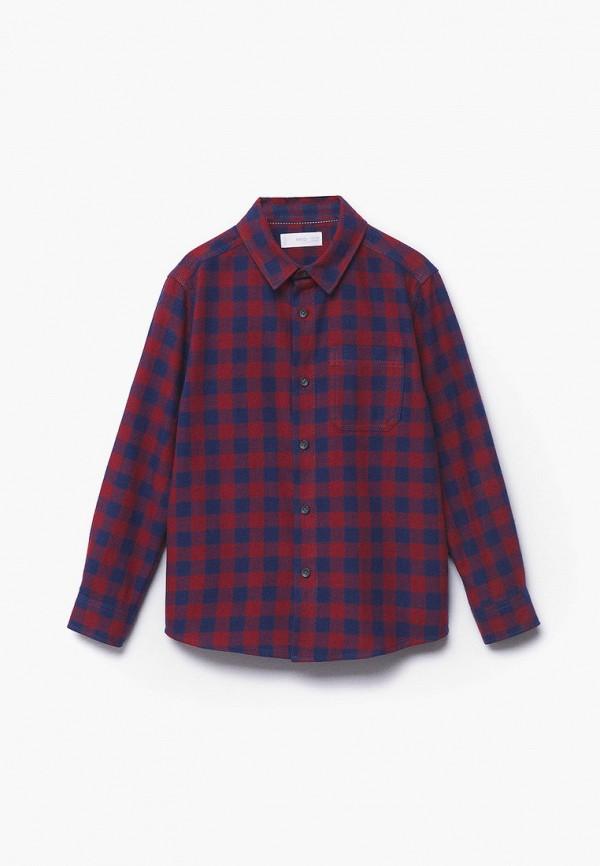 рубашка mango kids для мальчика, бордовая