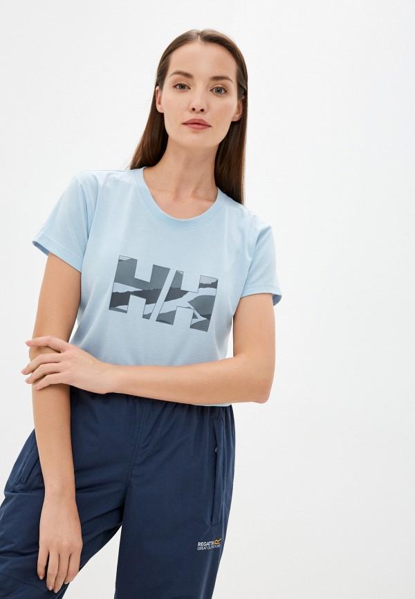 женская спортивные футболка helly hansen, голубая