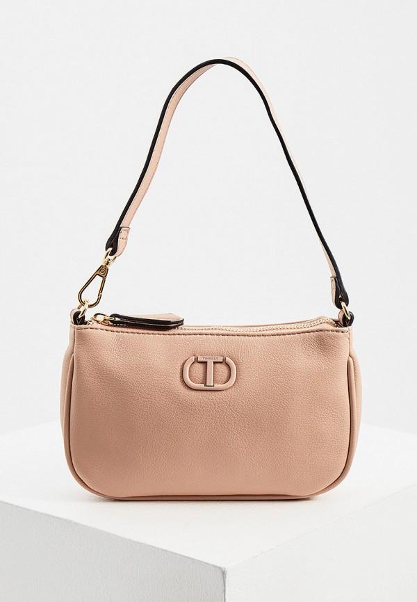 женская сумка с ручками twinset milano, розовая