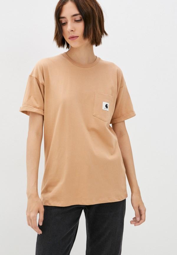 женская футболка carhartt wip, коричневая