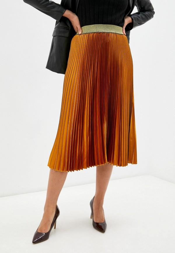 женская плиссированные юбка silvian heach, золотая