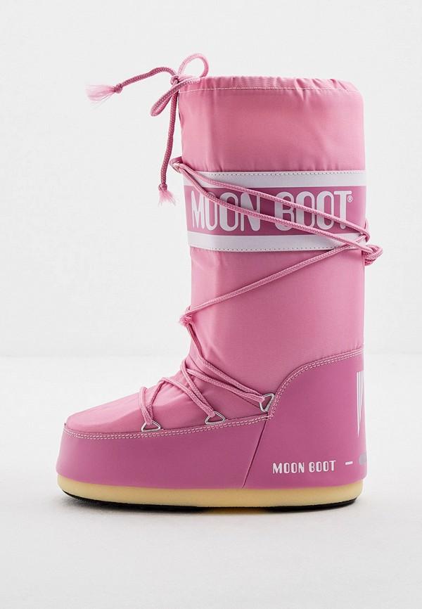женские луноходы moon boot, розовые
