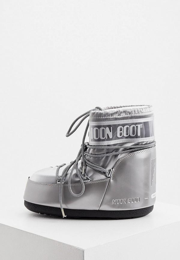 женские луноходы moon boot, серебряные