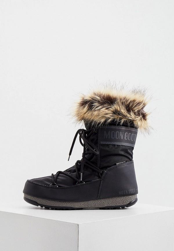 женские дутики moon boot, черные