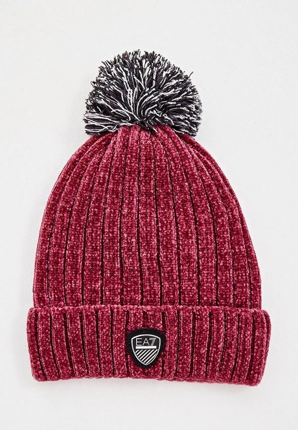 женская шапка ea7, фиолетовая