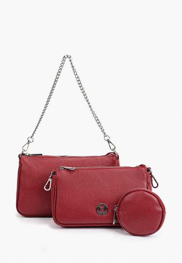 женский кошелёк через плечо marina volpe, бордовый