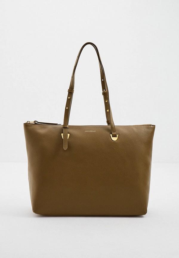 женская сумка-шоперы coccinelle, хаки