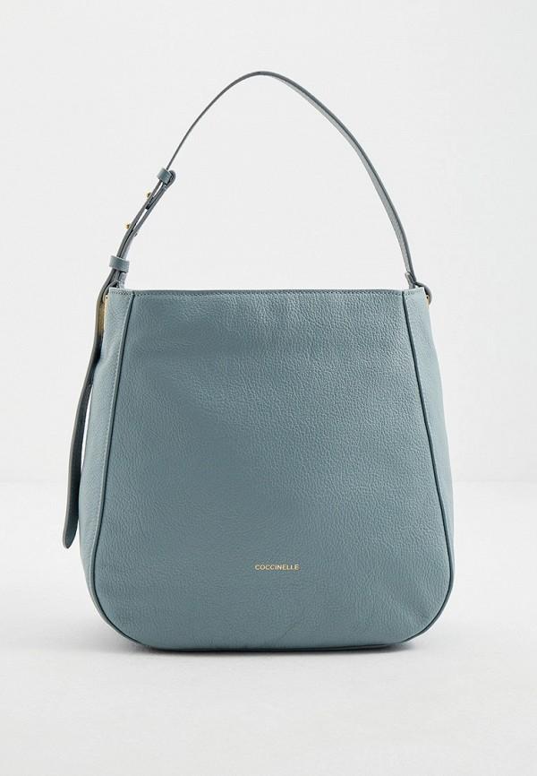женская сумка с ручками coccinelle, голубая