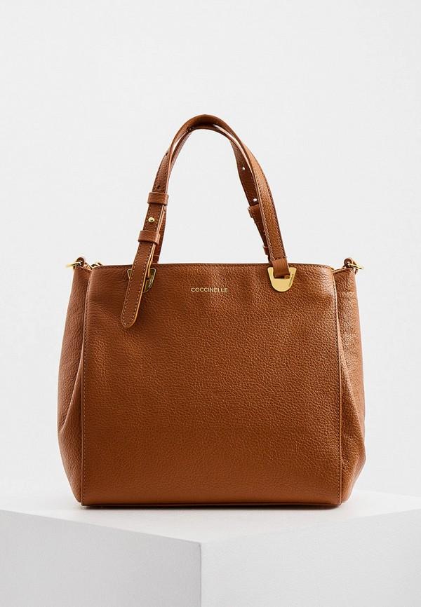 женская сумка с ручками coccinelle, коричневая