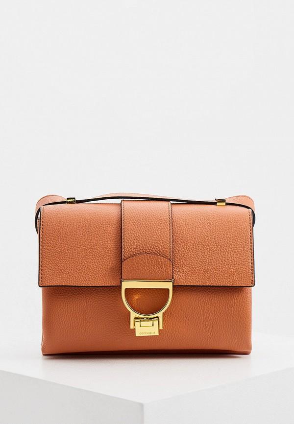 женская сумка через плечо coccinelle, коричневая