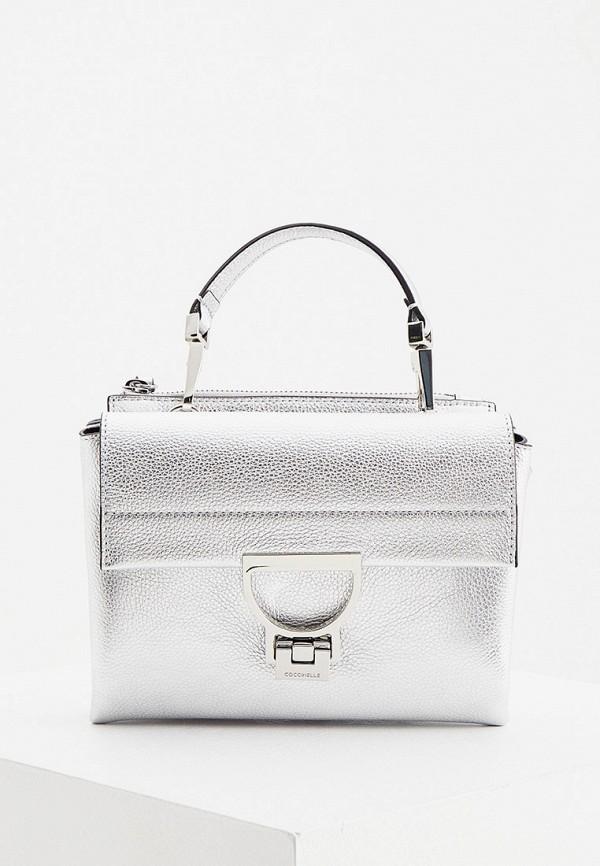 женская сумка с ручками coccinelle, серебряная