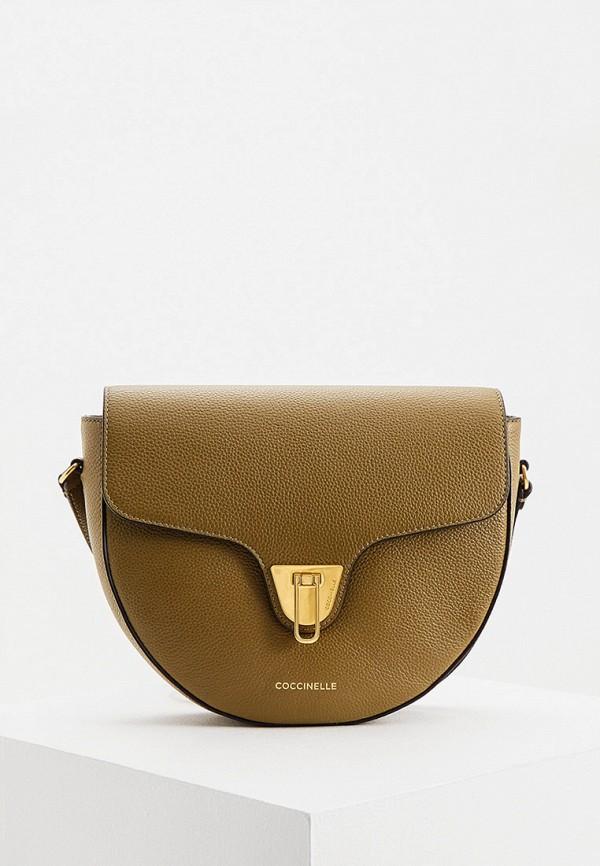 женская сумка через плечо coccinelle, хаки