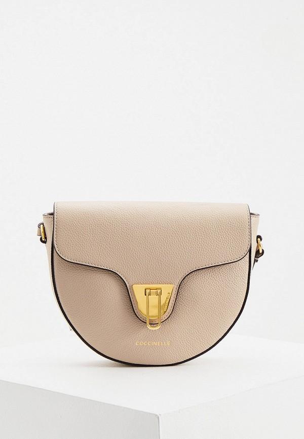 женская сумка через плечо coccinelle, бежевая