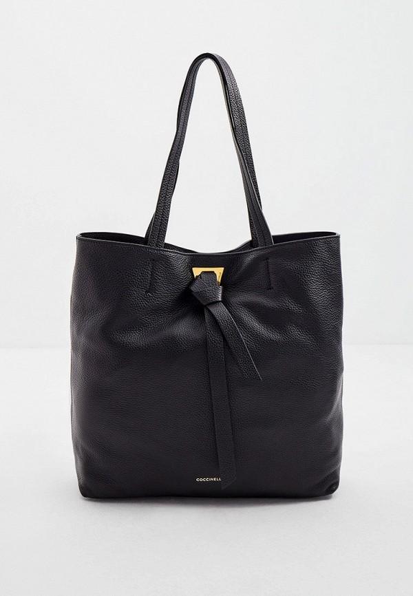 женская сумка-шоперы coccinelle, черная