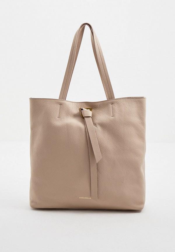 женская сумка-шоперы coccinelle, бежевая