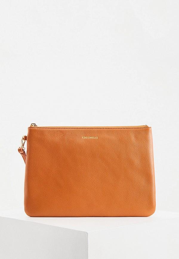 женский клатч coccinelle, оранжевый