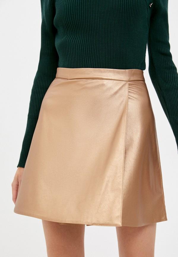 женская кожаные юбка unicomoda, золотая