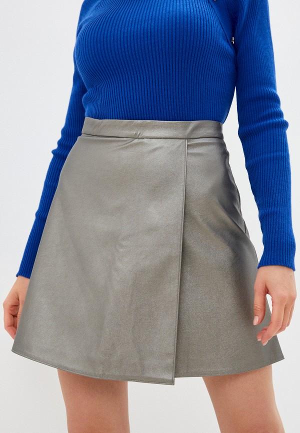 женская кожаные юбка unicomoda, серебряная