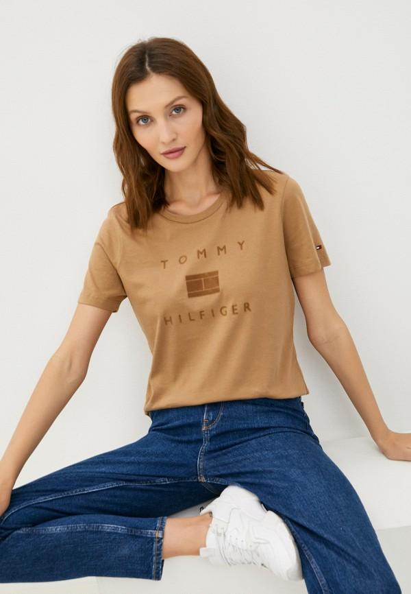 женская футболка tommy hilfiger, коричневая