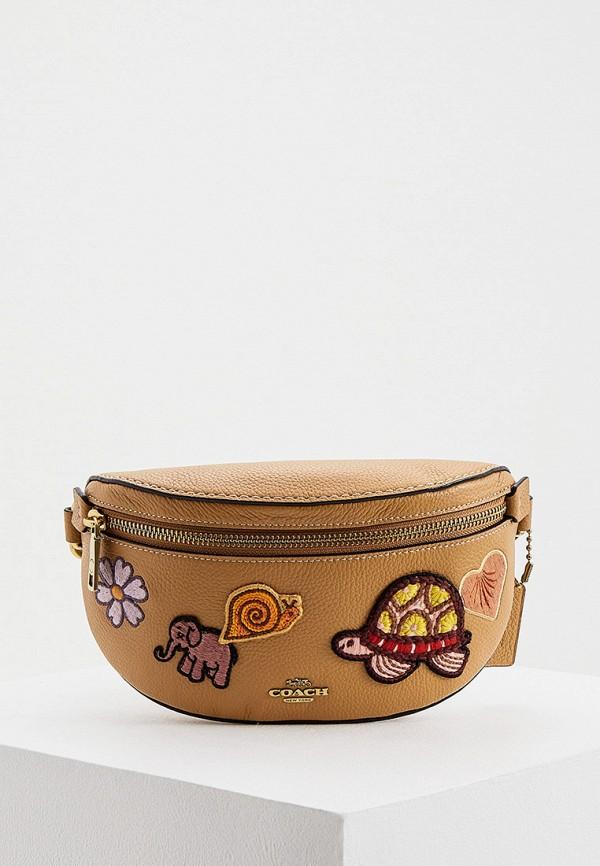 женская поясные сумка coach, коричневая
