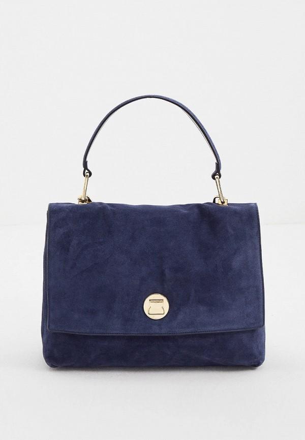 женская сумка с ручками coccinelle, синяя