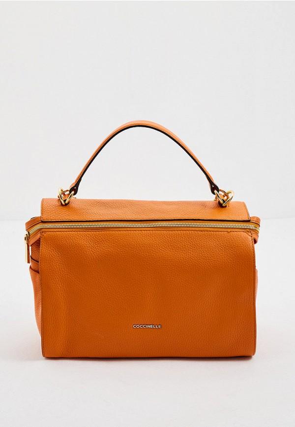 женская сумка с ручками coccinelle, оранжевая