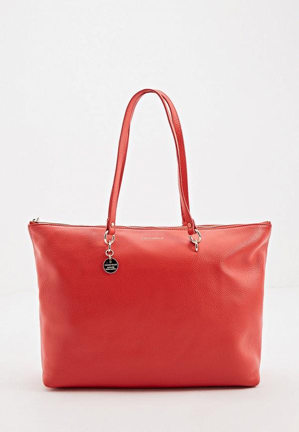 женская сумка-шоперы coccinelle, розовая
