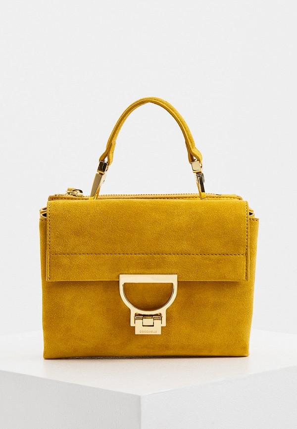 женская сумка с ручками coccinelle, желтая
