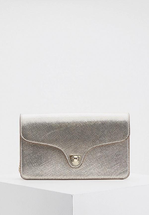 женская сумка через плечо coccinelle, золотая