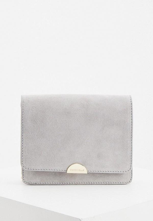 женская сумка через плечо coccinelle, серая