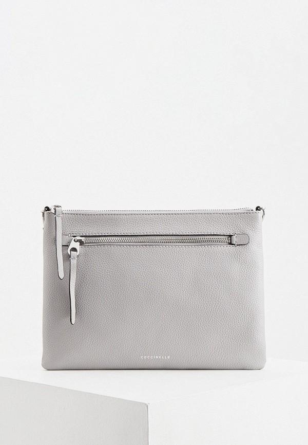 женский клатч coccinelle, серый
