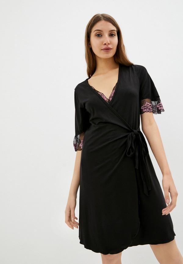 женский халат rene santi, черный