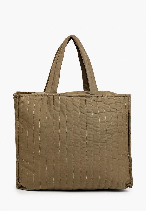 женская сумка-шоперы mango, хаки