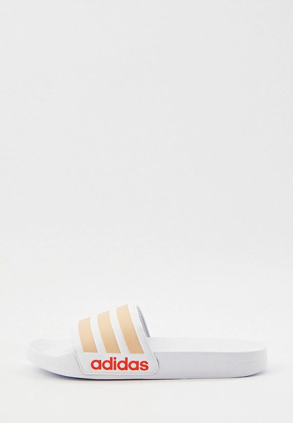 Сланцы adidas белого цвета