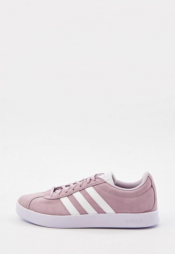 женские низкие кеды adidas, фиолетовые