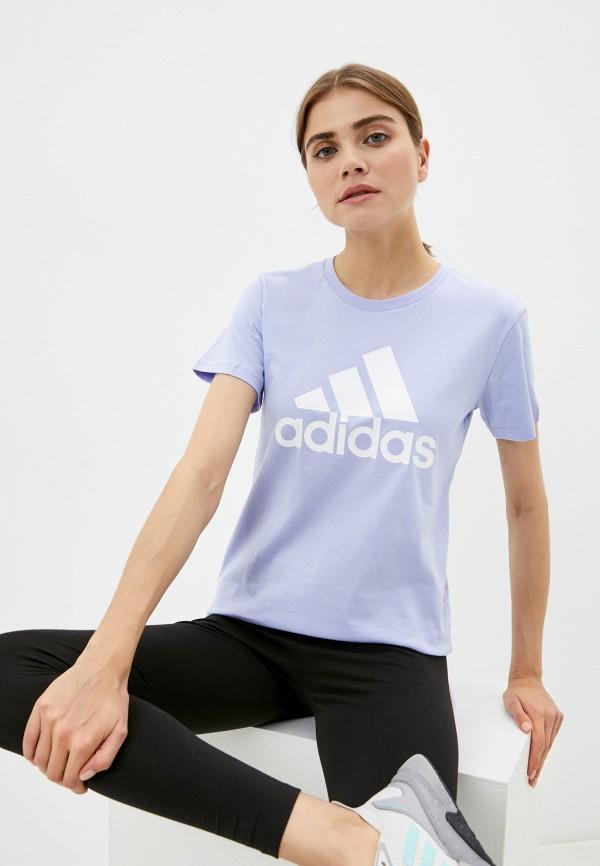 женская спортивные футболка adidas, голубая