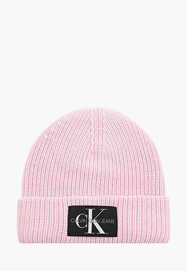 женская шапка calvin klein, розовая