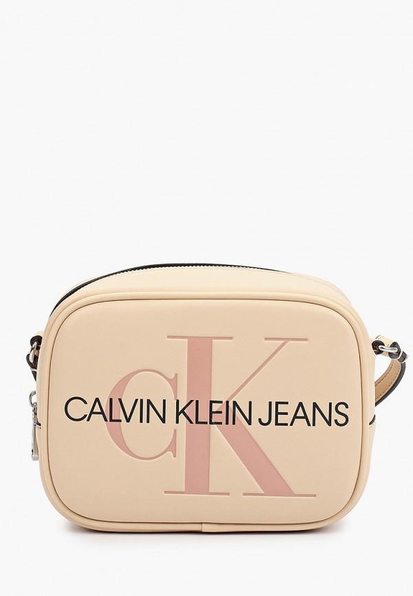 женская сумка через плечо calvin klein, розовая