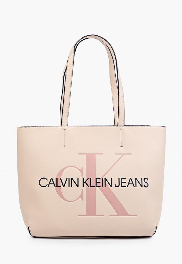 женская сумка с ручками calvin klein, бежевая