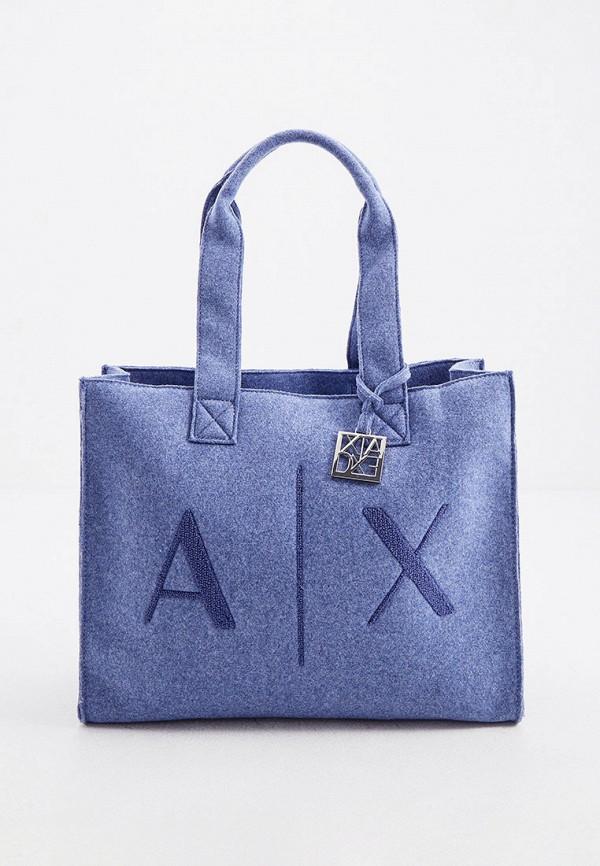 женская сумка с ручками armani exchange, голубая