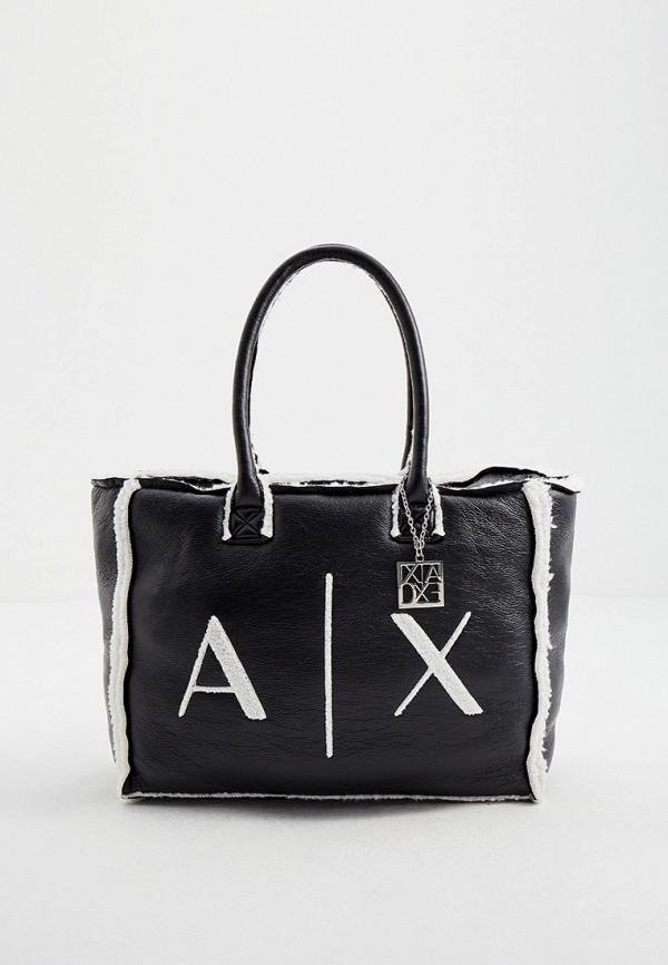 женская сумка-шоперы armani exchange, черная