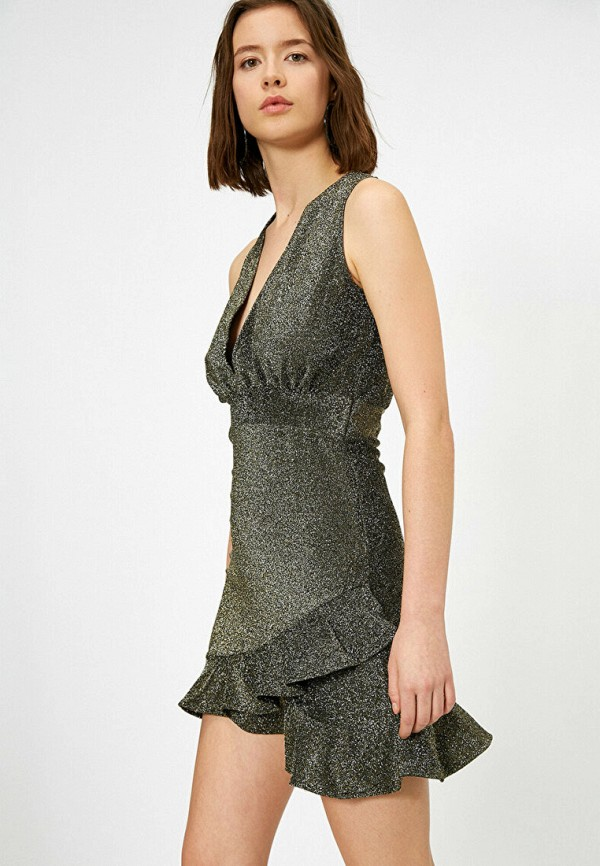 женское вечерние платье koton, серебряное