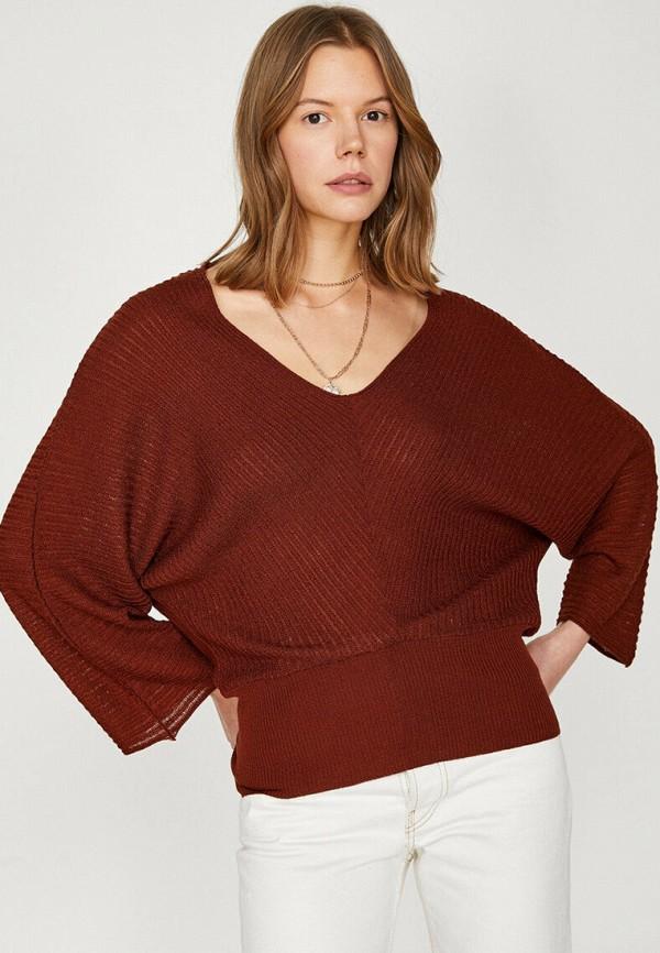 женский пуловер koton, бордовый